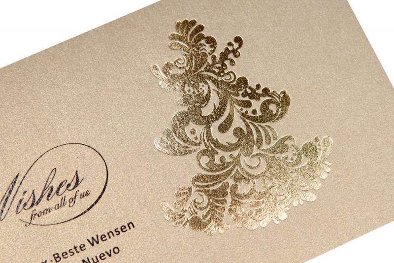 Felicitare Craciun eleganta cu bradut auriu - poza 2