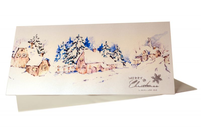 Felicitare Craciun pitoreasca cu un peisaj superb de iarna - poza 1