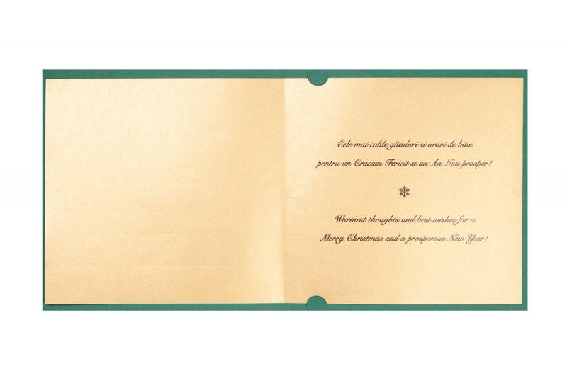 Felicitare craciun verde cu bradut auriu decupat - poza 2