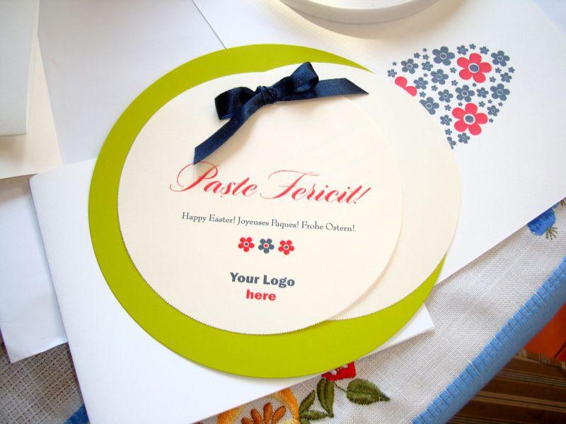 Felicitare de Paste rotunda verde - poza 2