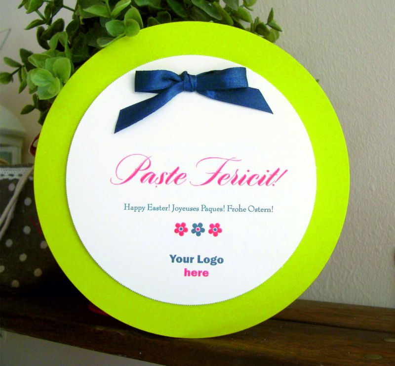 felicitare de Paste rotunda verde