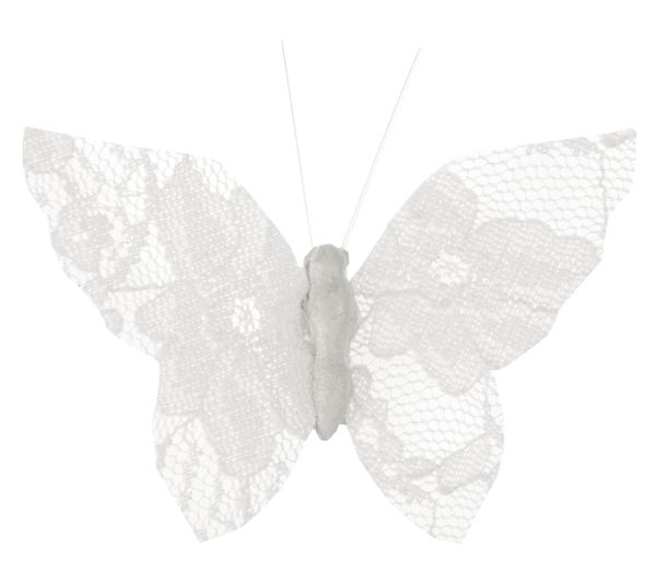 Fluturi dantela albi pe clips - poza 4