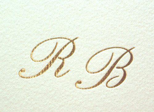 Initiale miri  pe invitatii nunta in auriu folio - poza 1
