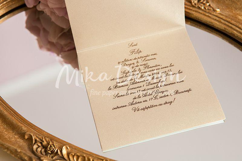 Invitatie botez baiat carusel auriu - poza 2
