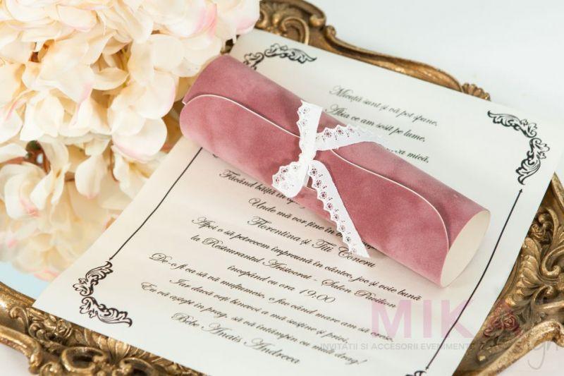 Invitatie scroll catifea cu dantela - poza 3