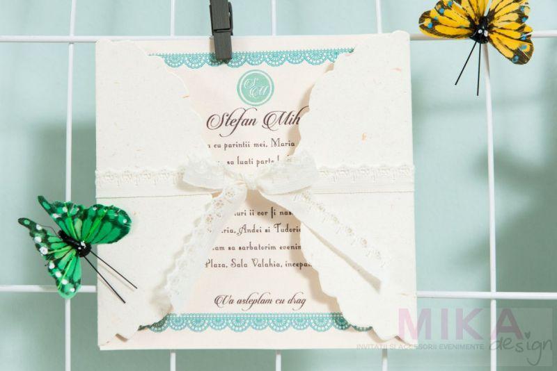 Invitatie botez design datela verde menta - poza 1