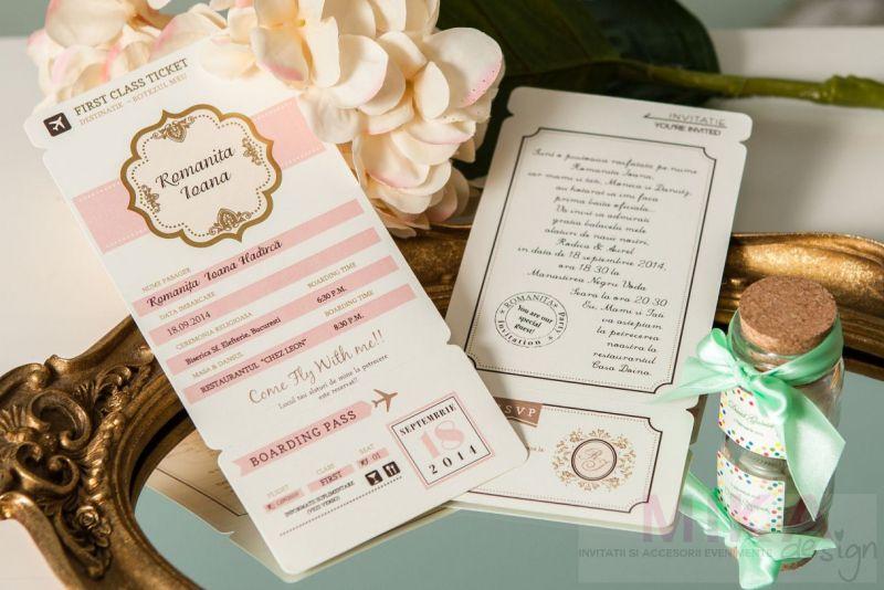 Invitatie botez fata bilet de avion roz - poza 1