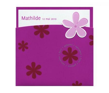 Invitatie botez din carton catifelat roz - poza 1