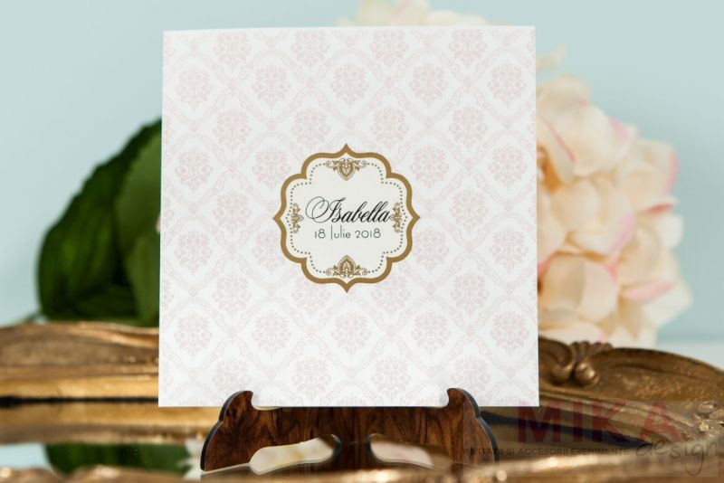 Invitatie botez fetita damask rose - poza 1