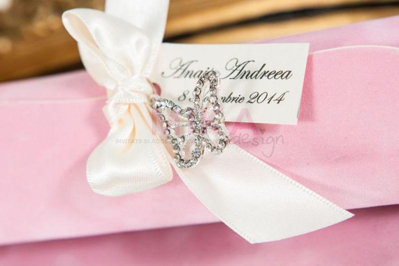 Invitatie botez fetita scroll roz - poza 2