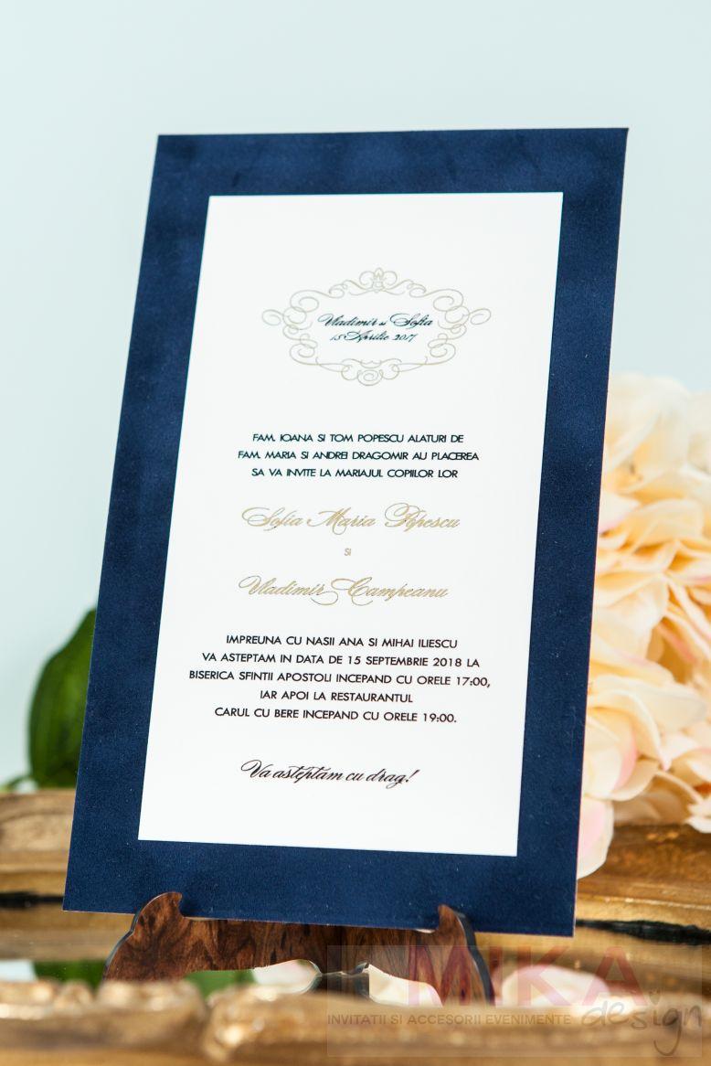 Invitatie catifea albastru cu auriu - poza 3