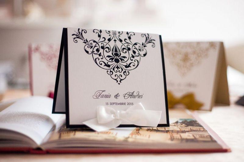 Invitatie nunta alb negru - poza 3