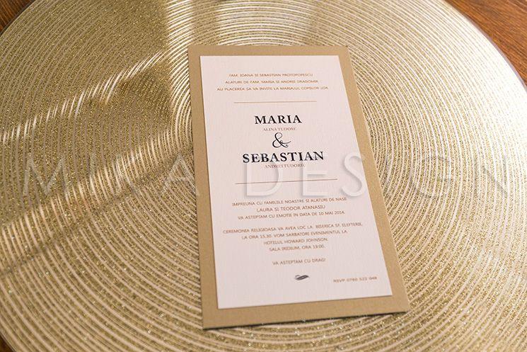 Invitatie nunta auriu cu ivory - poza 1