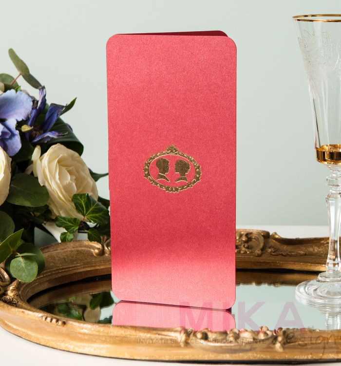 Invitatie nunta bordeaux cu camee vintage aurie - poza 4