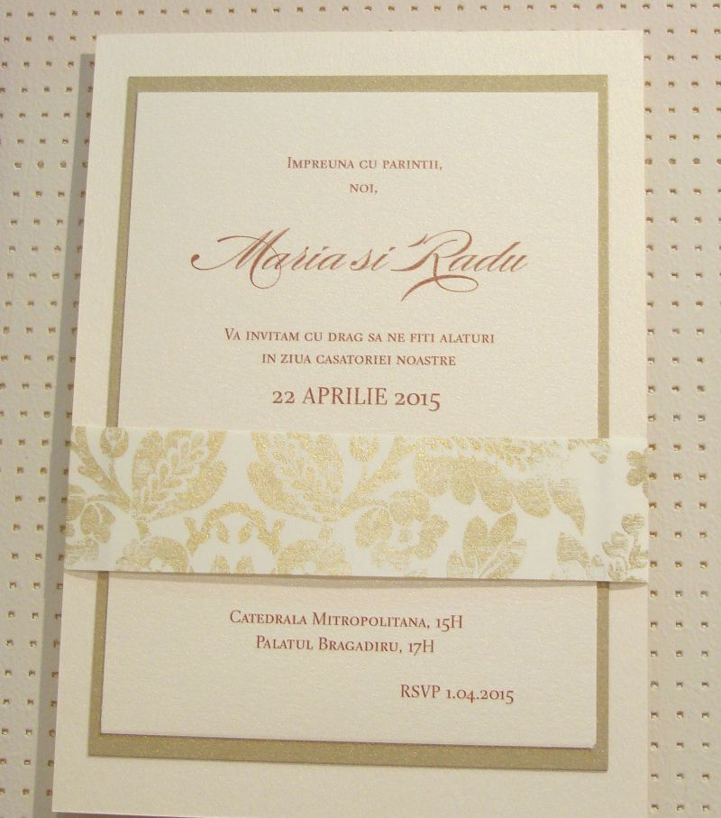 Invitatie nunta brocard auriu si ivoire - poza 7