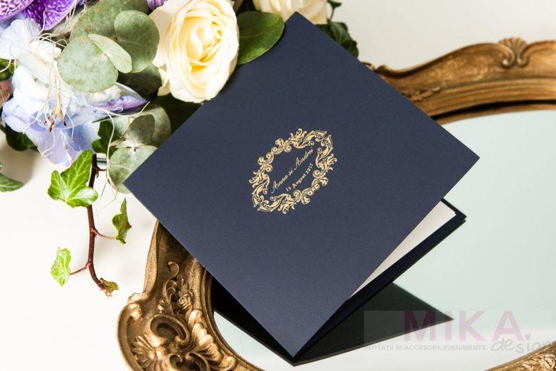 Invitatie nunta carton catifelat albastru - poza 2