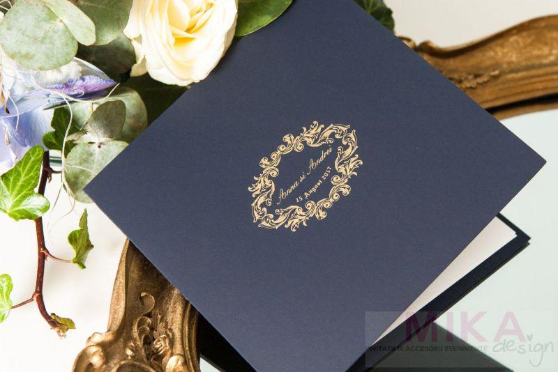 Invitatie nunta carton catifelat albastru - poza 1