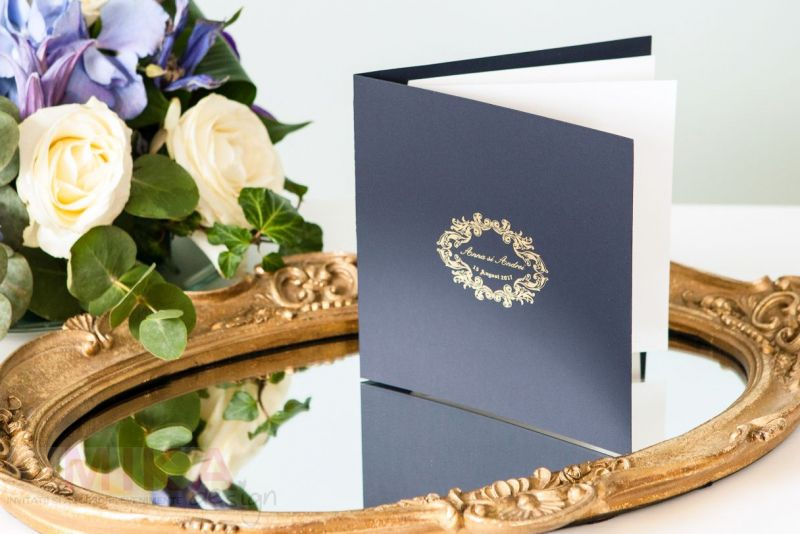 Invitatie nunta carton catifelat albastru - poza 5