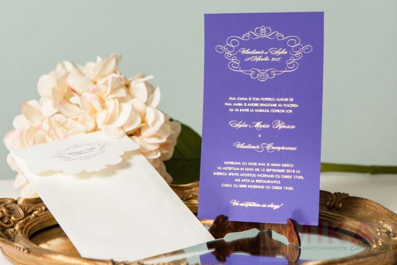 Invitatie nunta carton mov cu auriu - poza 3