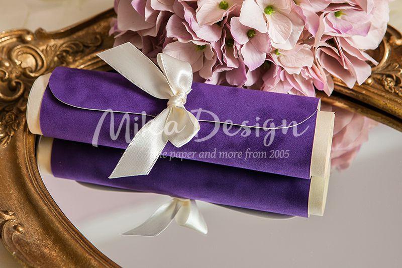 invitatie nunta catifea mov
