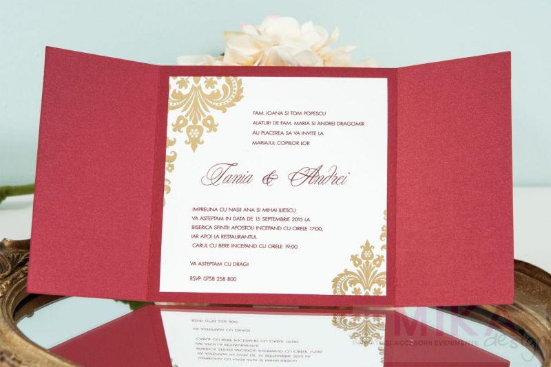 Invitatie nunta clasica visiniu sidefat cu auriu - poza 2