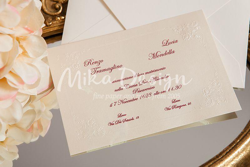 Invitatie nunta crem sidefat cu design perlat in relief - poza 2