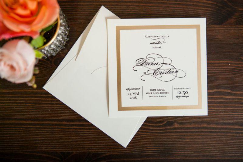 invitatie nunta cu cadran auriu