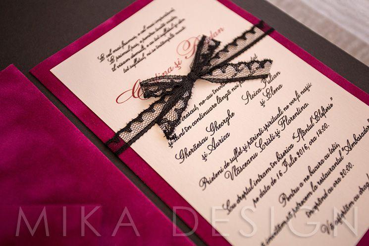 Invitatie nunta cu plic catifea - poza 1