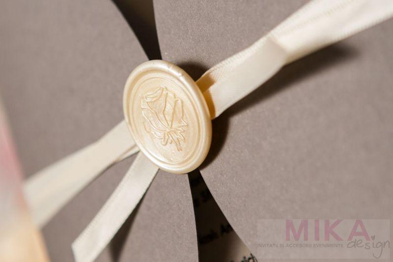 Invitatie nunta cu sigiliu trandafir ivoire - poza 2