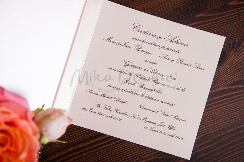 Invitatie nunta damasc rose - poza 2