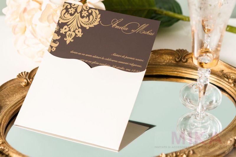 Invitatie nunta damask auriu - poza 3