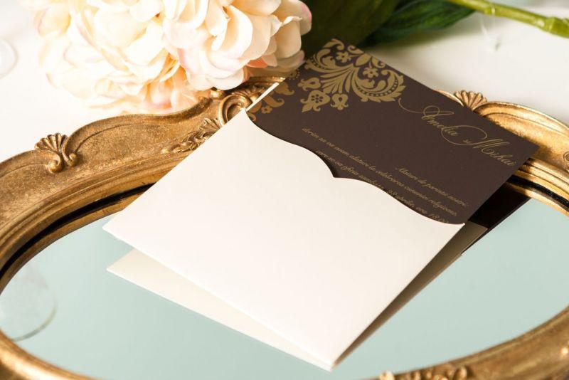 Invitatie nunta damask auriu - poza 2