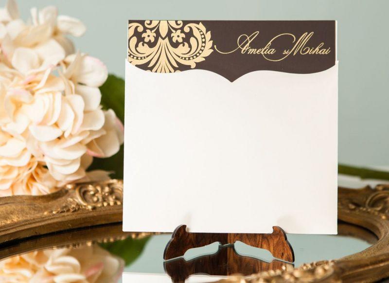 Invitatie nunta damask auriu - poza 1