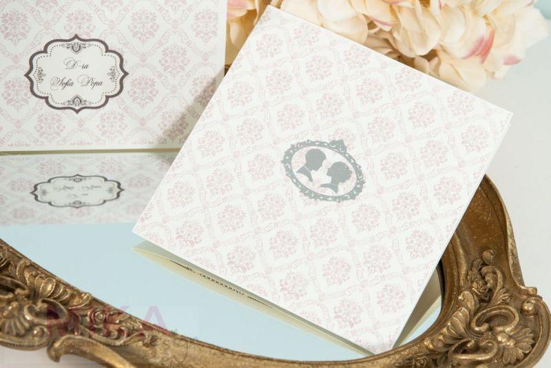 Invitatie nunta damask roz pal - poza 1