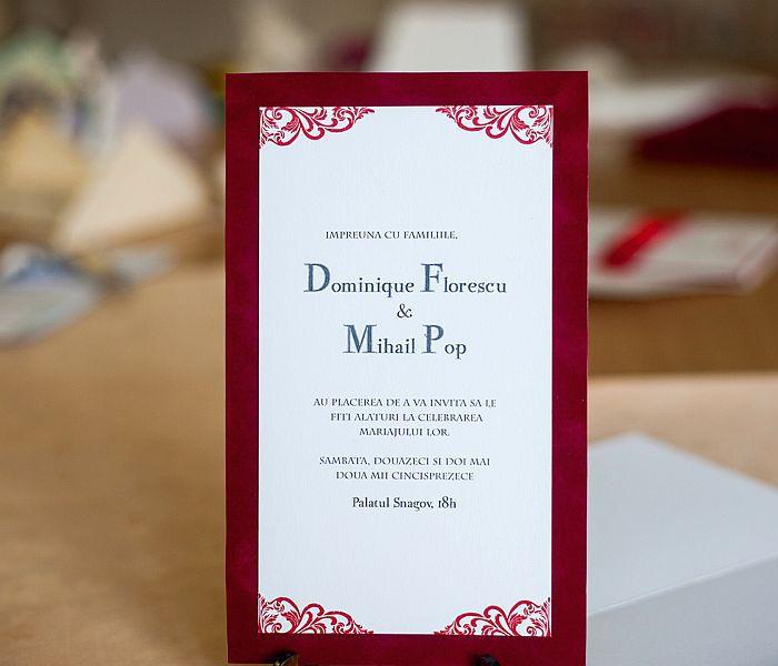 Invitatie nunta din catifea rosie - poza 1