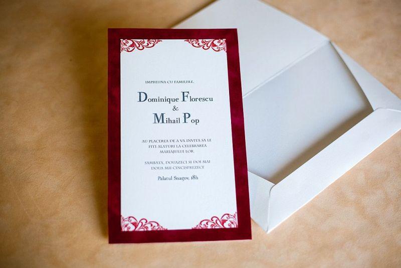 Invitatie nunta din catifea rosie - poza 3