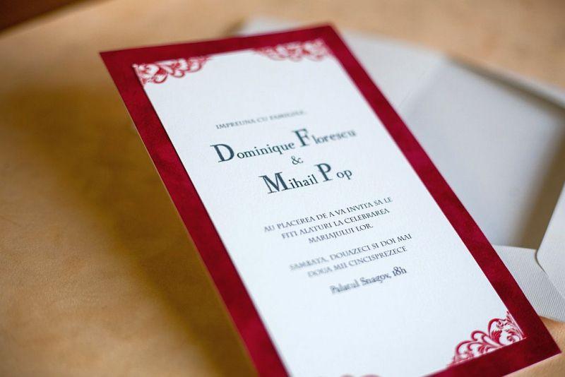 Invitatie nunta din catifea rosie - poza 2