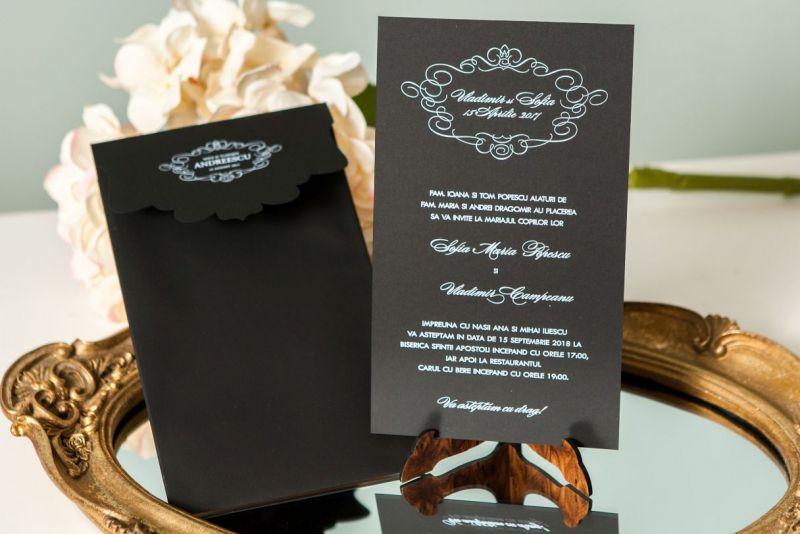 Invitatie nunta eleganta alb-negru - poza 4