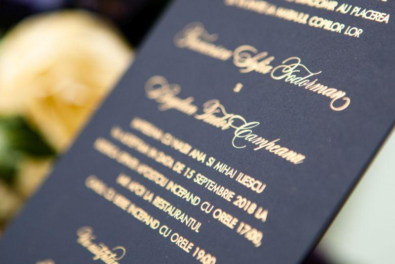 Invitatie nunta eleganta albastru cu auriu - poza 5