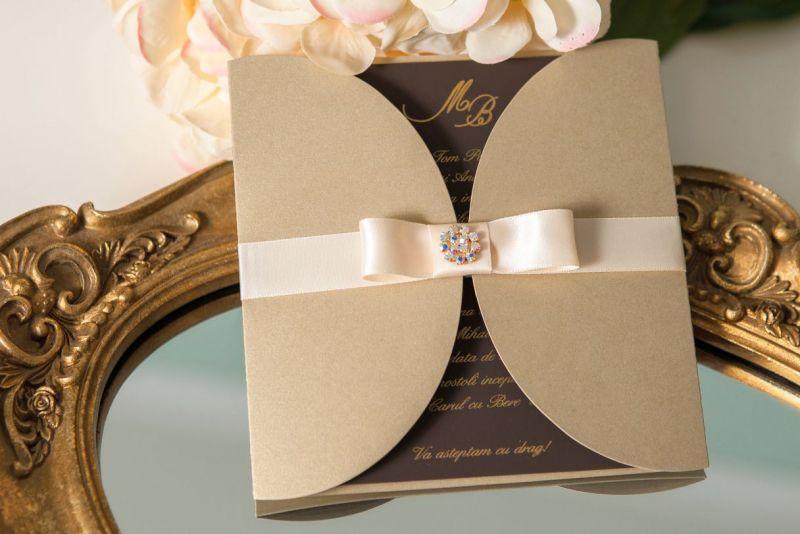 Invitatie nunta eleganta auriu cu maro - poza 2