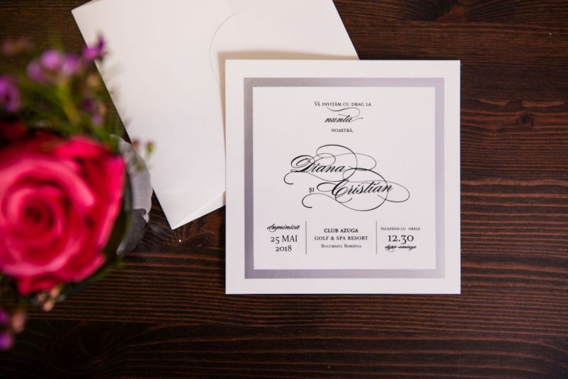 Invitatie nunta eleganta cadran argintiu - poza 2