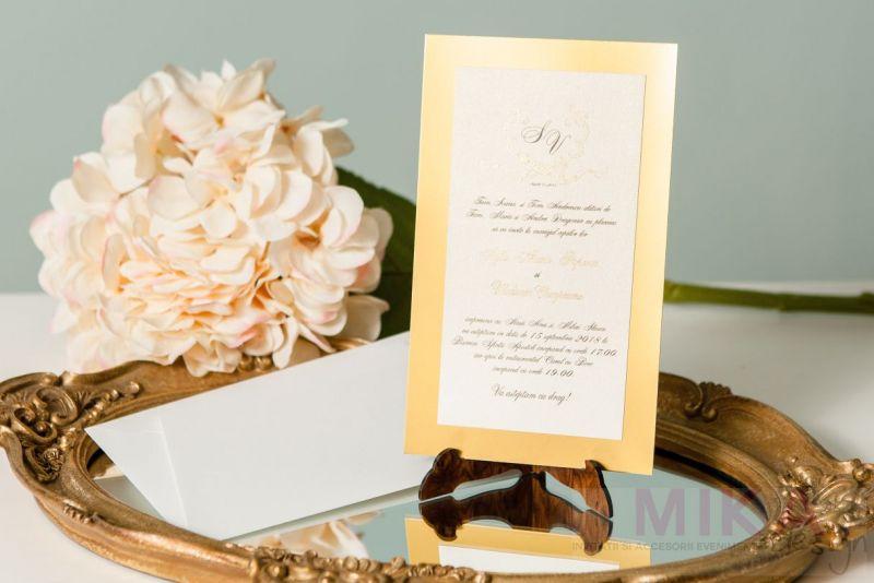 Invitatie nunta eleganta cu auriu - poza 2
