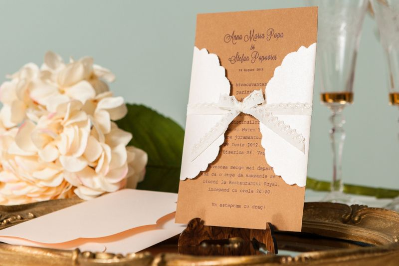 Invitatie nunta eleganta cu dantela - poza 3