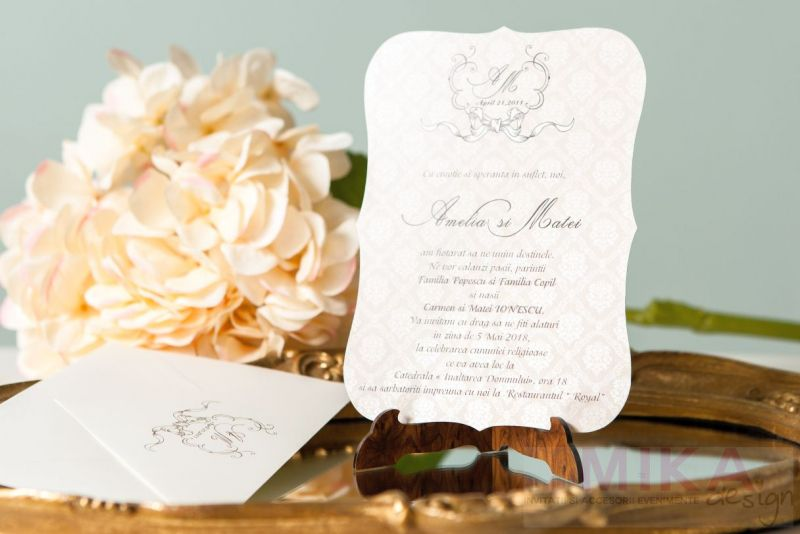 Invitatie nunta eleganta cu fundal damask - poza 4