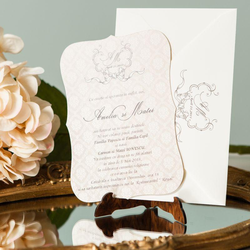 Invitatie nunta eleganta cu fundal damask - poza 3