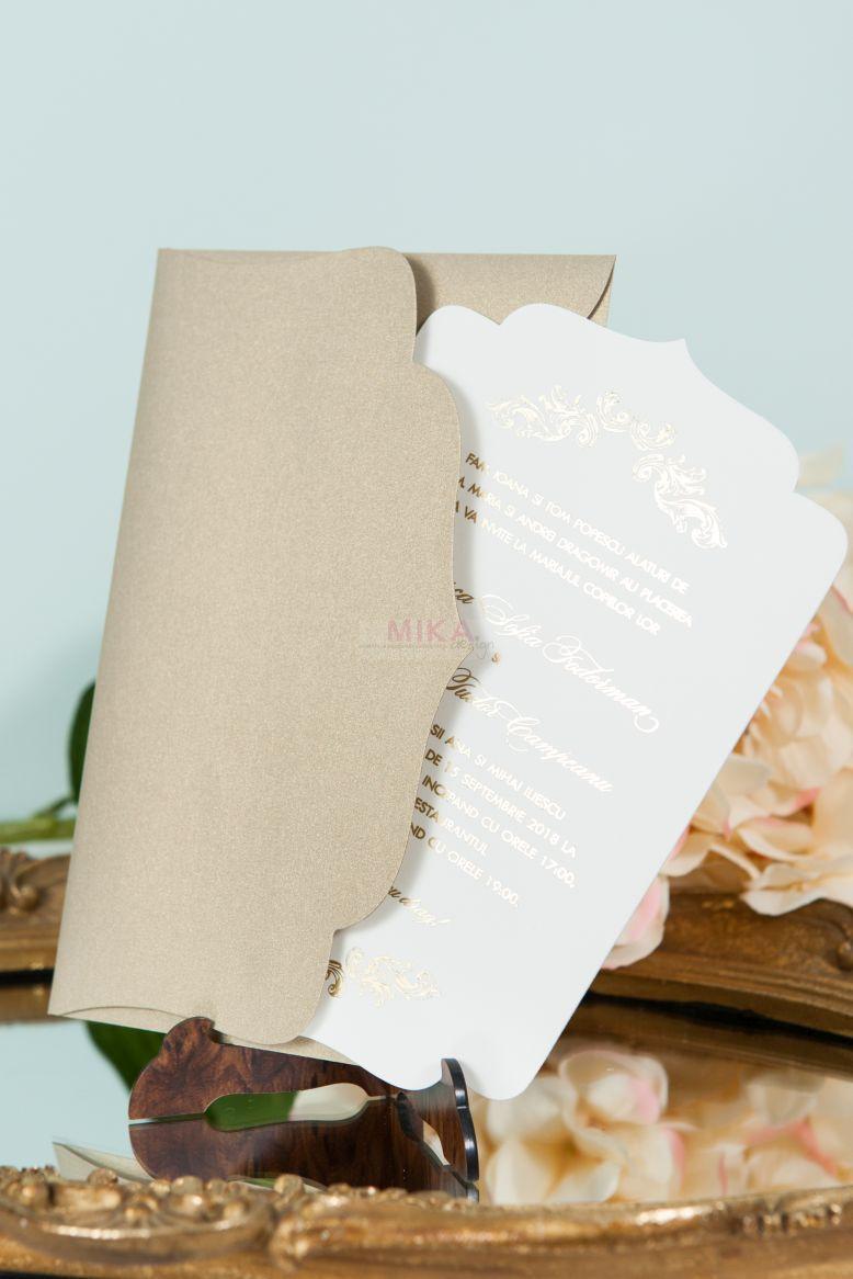 Invitatie nunta eleganta ivoire cu auriu - poza 3