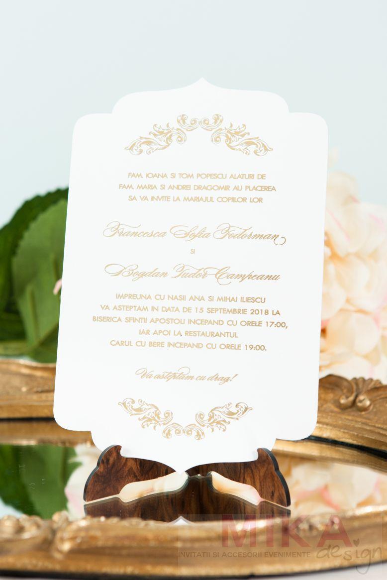 Invitatie nunta eleganta ivoire cu auriu - poza 2