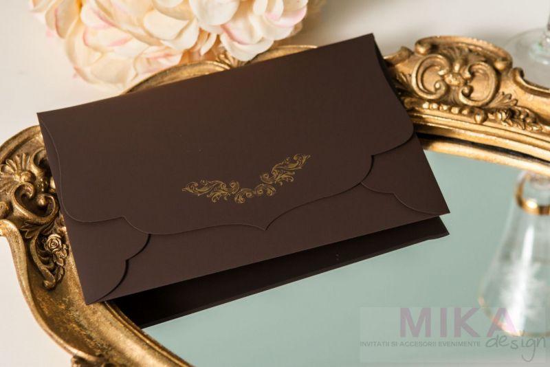 Invitatie nunta eleganta maro cu auriu - poza 6
