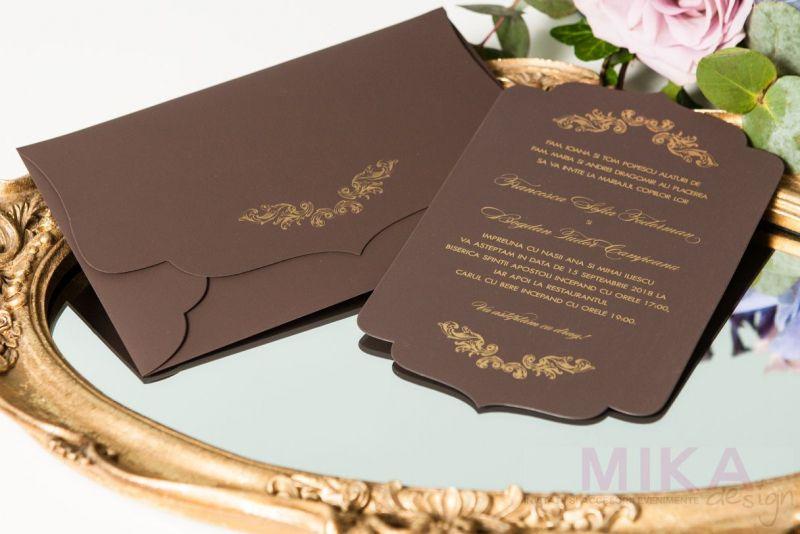 Invitatie nunta eleganta maro cu auriu - poza 1