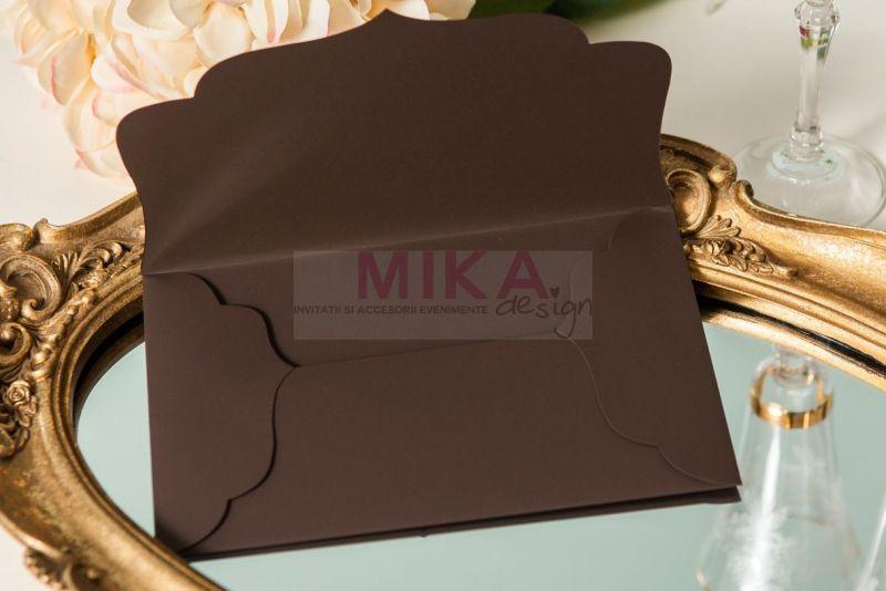 Invitatie nunta eleganta maro cu auriu - poza 7